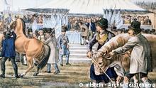 Deutschland Bayern Geschichte Vorführung von Pferden und Rindern beim ersten Oktoberfest 1810