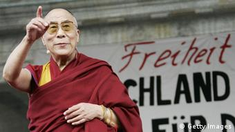 Tibetan spiritual leader his Holiness The Dalai Lama speaks in front of the Brandenburg Gate on April 19, 2008 in Berlin, Germany. (Photo: Getty Images)