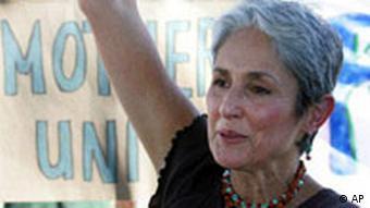 Mütter gegen Irak-Krieg Demonstration in Crawford Joan Baez