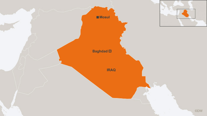 A map of Iraq showing Mosul