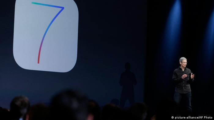 Apple CEO Tim Cook speaks about the new iOS 7 during the keynote address of the Apple Worldwide Developers Conference Monday, June 10, 2013, in San Francisco. (AP Photo/Eric Risberg)
