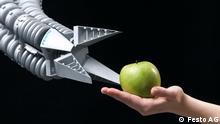 Bionisches Greiforgan, das Gegenstände sanft,flexibel und dennoch kraftvoll greifen und sicher absetzen kann