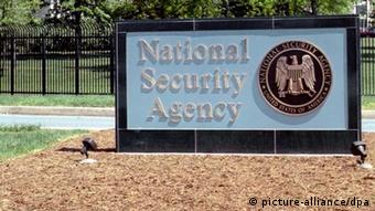 An undated handout image by the National Security Agency (NSA) shows the NSA logo in front of the National Security Agency's headquarters in Fort Meade, Maryland, USA. According to media reports, a secret intelligence program called 'Prism' run by the US Government's National Security Agency has been collecting data from millions of communication service subscribers through access to many of the top US Internet companies, including Google, Facebook, Apple and Verizon. Reports in the Washington Post and The Guardian state US intelligence services tapped directly in to the servers of these companies and five others to extract emails, voice calls, videos, photos and other information from their customers without the need for a warrant. (Foto: picture alliance/dpa) / Eingestellt von wa