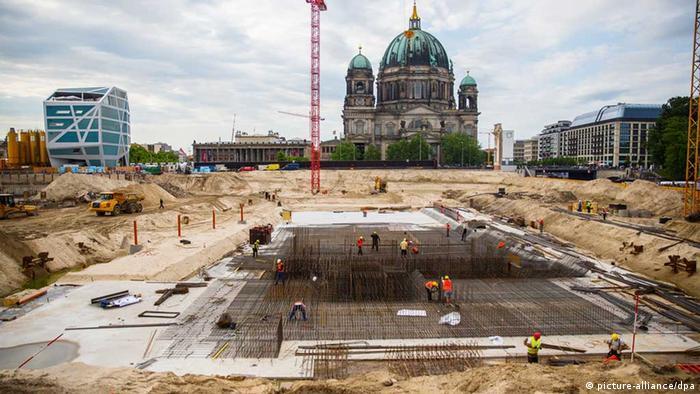 Área onde está sendo construído o Fórum Humboldt em Berlim