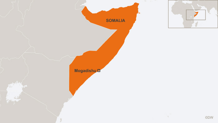 12.06.2013 Map of Somalia with Mogadishu marked.