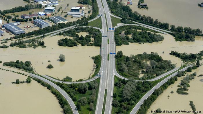 Снимок с воздуха районов, пострадавших от наводнения