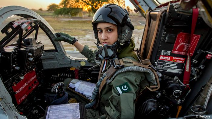 Ayesha Farooq, 26, Pakistan's only female war-ready fighter pilot, poses for photograph as she sits in a cockpit of a Chinese-made F-7PG fighter jet at Mushaf base in Sargodha, north Pakistan June 6, 2013 (Photo: REUTERS/Zohra Bensemra)