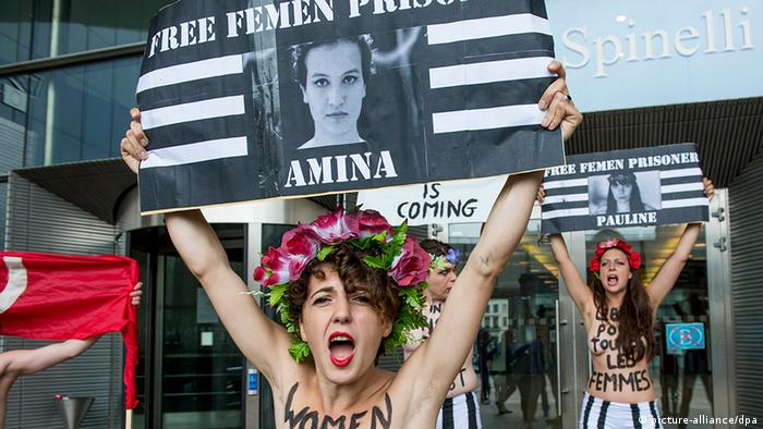 A protest of women's rights movement Femen regarding the four Femen activist in jail in Tunisia, Wednesday 12 June 2013, in front of the European parliament in Brussels. (Photo:Thomas Blairon - ImageGlobe/Belga)