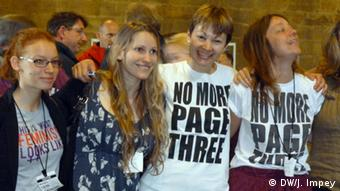 Laura Bates (2nd from left) and MP Caroline Lucas (2nd from right)