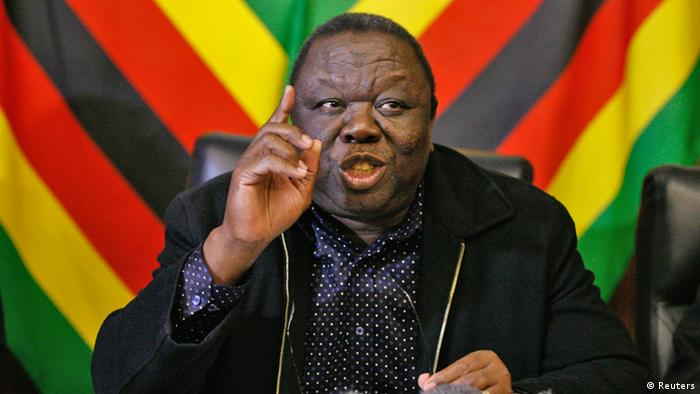 Morgan Tsvangirai speaking at a press conference