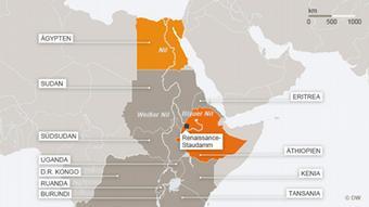 Karte Nil Verlauf und Renaissance-Staudamm