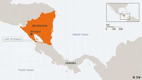 Karte Nicaragua mit Panama Englisch (DW)