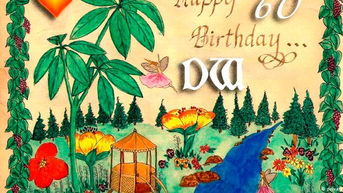 "60 years of DW – This picture was painted by Udo's daughter and shows elves in a floral landscape next to the lettering ""Happy 60 Birthday DW""."