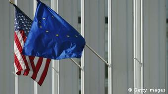 BLOOMFIELD TOWNSHIP, MI - SEPTEMBER 15: A detailed shot the USA and European Union flags on the clubhouse during the second practice day for the 35th Ryder Cup Matches at the Oakland Hills Country Club on September 15, 2004 in Bloomfield Township, Michigan.. (Photo by Donald Miralle/Getty Images)
