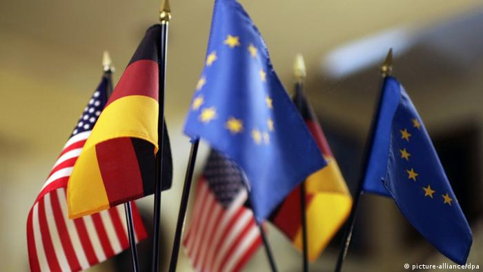 US, German and EU flags