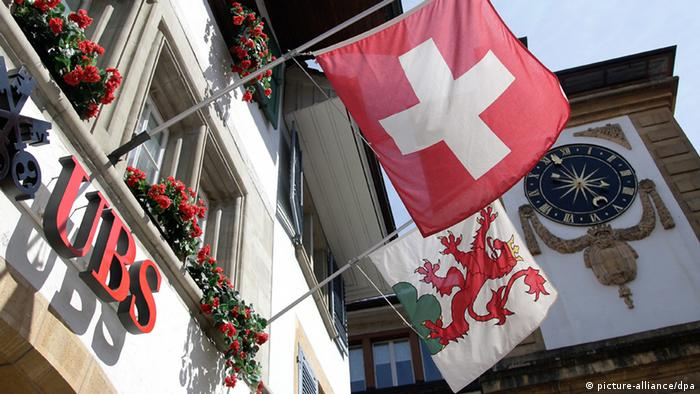 UBS building with Swiss flag