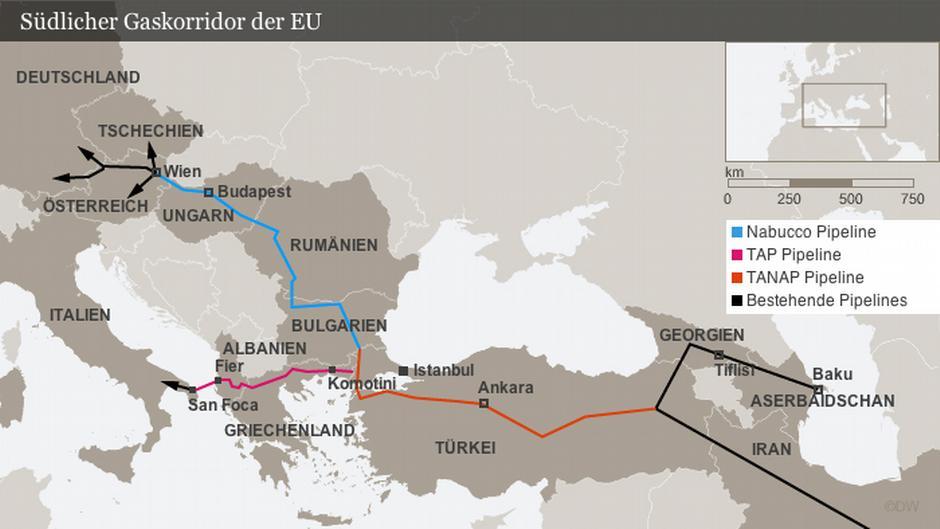 Трубопровод Южный коридор - газопроводы Юга России.