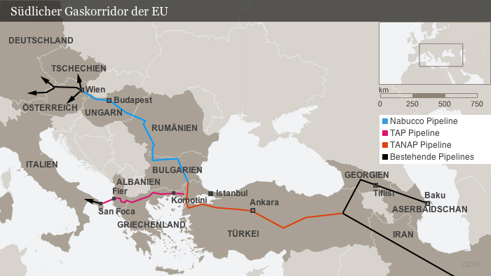 Karte Südlicher Gaskorridor der EU mit Nabucco, TAP und TANAP Pipeline (DW-Grafik: Olof Pock)