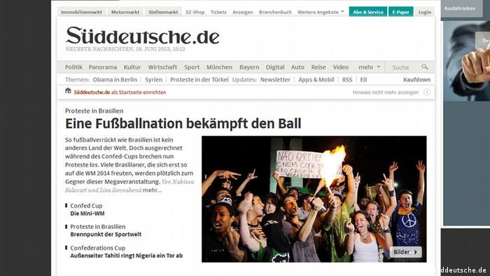 Screenshot von sueddeutsche.de 18.06.2013