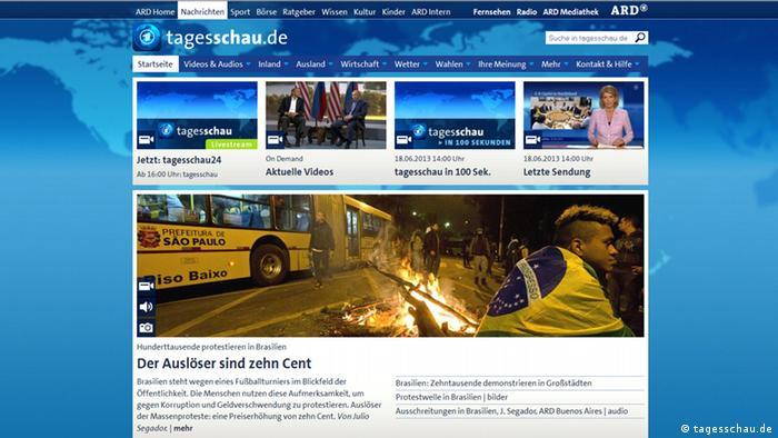 Screenshot von tagesschau.de 18.06.2013