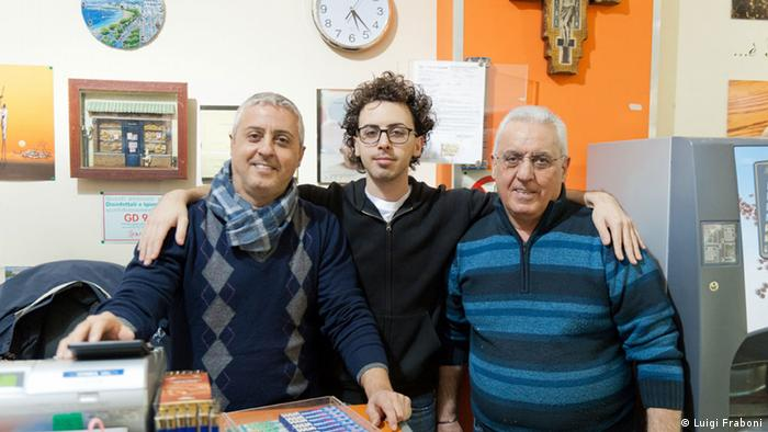 """The bakers and brains behind the family-run bakery Il Fornaio in Palermo. (L to R) Michele D'Aloisi with his son Francesco D'Aloisi and father Francesco """"Franco"""" D'Aloisi. They refused to bow to Mafia demands to alter their products, prompting the criminals to set fire to the bakery. (photo by Luigi Fraboni)"""