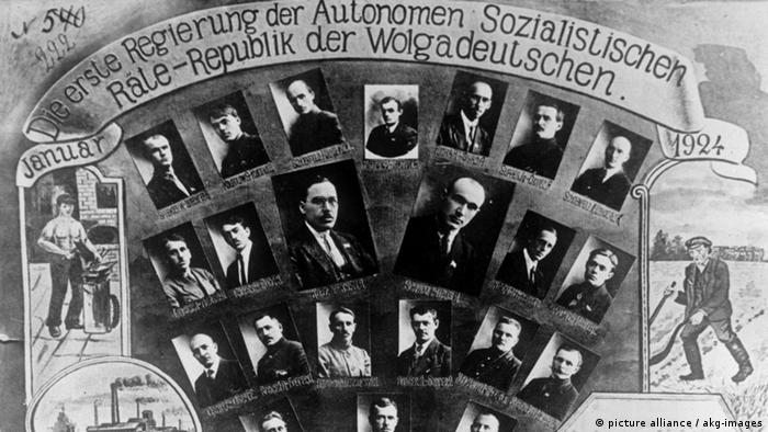 Old photo of poster with Volga Germans
