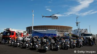 BRASILIA, BRAZIL - JUNE 12: Motorbikes, trucks, vehicles and helicopter from the Federal Highway Police or Policia Rodoviaria Federal, National Public Security Force or Forca Nacional de Seguranca Publica and firefighters or Corpo de Bombeiros are pictured near the Estadio Nacional on June 12, 2013 in Brasilia, Brazil. (Photo by Dean Mouhtaropoulos/Getty Images)
