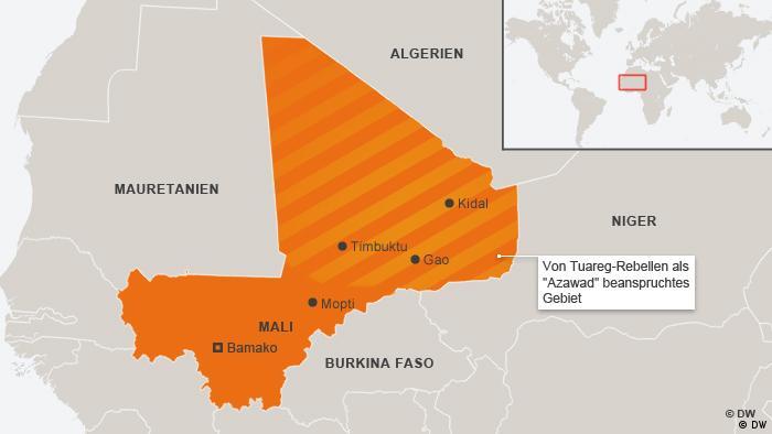 Karte Mali Seperationbewegung Azwad Deutsch Deutsch aktualisert