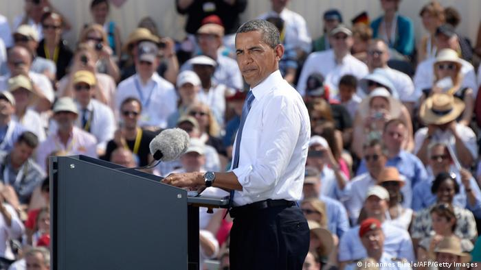 Obama hält eine Rede vor dem Brandenburger Tor (Foto: AFP/Getty Images)