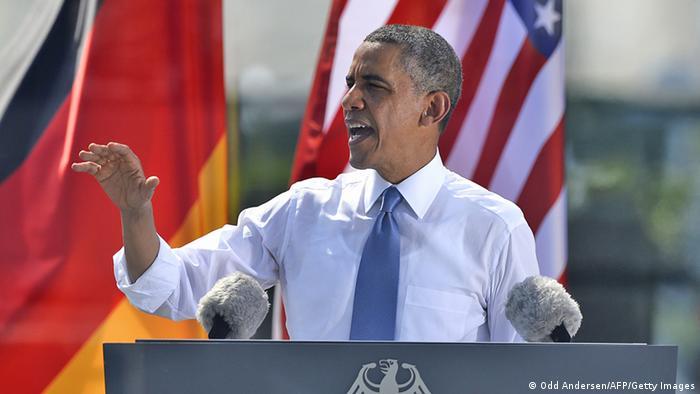 Обама выступает с речью у Бранденбургских ворот