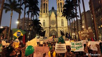 Demonstrators against poor public services, police violence and government corruption, in Sao Paulo June 18, 2013.