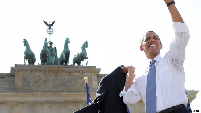 U.S. President Barack Obama waves after giving a speech in front of the Brandenburg Gate in Berlin June 19, 2013. Obama's first presidential visit to Berlin comes nearly 50 years to the day after John F. Kennedy landed in a divided Berlin at the height of the Cold War and told encircled westerners in the city Ich bin ein Berliner, a powerful signal that America would stand by them. REUTERS/MichaelKappeler/Pool (GERMANY - Tags: POLITICS )