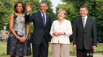Obama la Berlin, alături de soţia sa Michelle, de cancelara Angela Merkel şi de soţul acesteia, Joachim Sauer