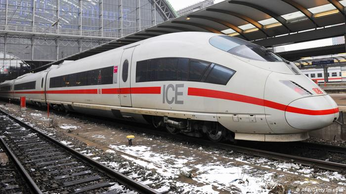An Inter City Express (ICE) train of Germany's Deutsche Bahn waits to take on passengers in Frankfurt/Main's main railway station January 16, 2009. AFP PHOTO JOHN MACDOUGALL (Photo credit should read JOHN MACDOUGALL/AFP/Getty Images)