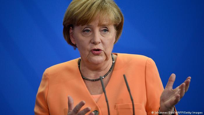 Bundeskanzlerin Merkel bei einer gemeinsamen Pressekonferenz mit Obama Mitte Juni. (Foto:afp)