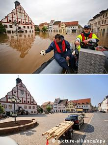 Before and after the flood in Grimma Foto: Jan Woitas/ZB
