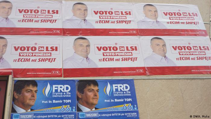 Other view with posters of various political parties in Albania; Juni 2013, Tirana; Copyright: DW/A. Muka