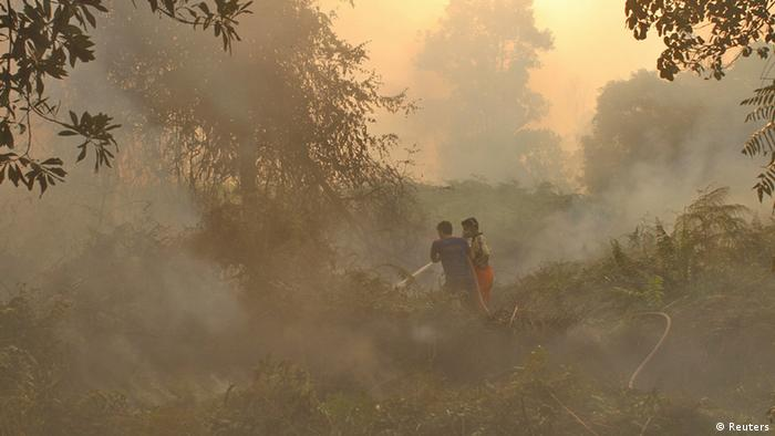 Firefighters spray water on the burning land in Marpoyan Damai sub district, in the outskirts of Pekanbaru, in Indonesia's Riau province June 20, 2013. Haze from fires in Indonesia blanketing Singapore could persist for weeks or longer, Singapore's Prime Minister Lee Hsien Loong said on Thursday, as the smoke drove air quality to hazardous levels and disrupted business and travel in the region. REUTERS/Azwar (INDONESIA - Tags: ENVIRONMENT DISASTER TPX IMAGES OF THE DAY BUSINESS AGRICULTURE)