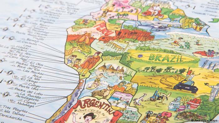 El mapa de Surf destaca las playas y datos para viajeros, con ilustraciones características de cada país.
