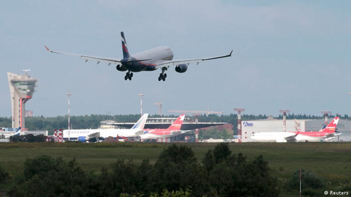 A plane believed to carry Edward Snowden lands in Moscow's Sheremetyevo airport, June 23, 2013.