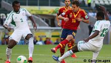 FORTALEZA, BRAZIL - JUNE 23: Jordi Alba of Spain (18) beats the Nigeria defence to score their first goal during the FIFA Confederations Cup Brazil 2013 Group B match between Nigeria and Spain at Castelao on June 23, 2013 in Fortaleza, Brazil. (Photo by Clive Rose/Getty Images)