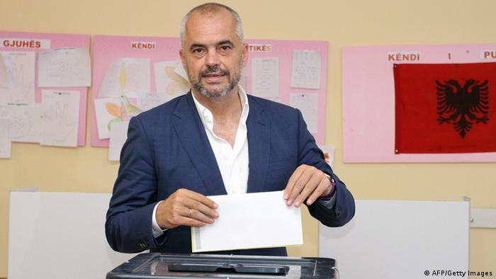 Albanian Socialist Party leader Edi Rama casts his ballot at a polling station in Tirana on June 23 (Photo: GENT SHKULLAKU/AFP/Getty Images)