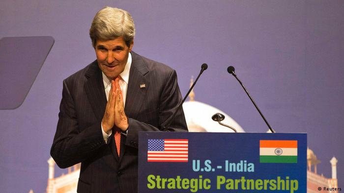 U.S. Secretary of State John Kerry gestures after his speech on the U.S.-India strategic partnership in New Delhi June 23, 2013.