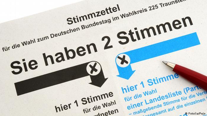 Бюллетень для парламентских выборов в ФРГ