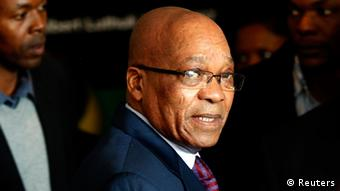 South African President Jacob Zuma arrives ahead of addressing editors at the SA National Editors' Forum (Sanef) in Johannesburg June 24, 2013. South Africans appeared resigned on Monday to the inevitability of one day saying goodbye to former president Nelson Mandela after the 94-year-old anti-apartheid leader's condition in hospital deteriorated to critical.Madiba, as he is affectionately known, is revered among most of South Africa's 53 million people as the architect of the peaceful 1994 transition to multi-racial democracy after three centuries of white domination.REUTERS/Siphiwe Sibeko (SOUTH AFRICA - Tags: POLITICS HEALTH SOCIETY)