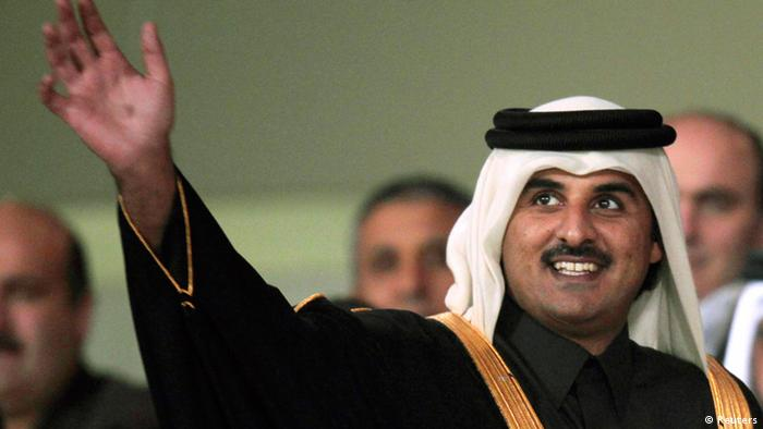 Qatar's Crown Prince Sheikh Tamim Bin Hamad al-Thani attends the closing ceremony of the 12th Arab Games at Al-Sadd Stadium in Doha, in this December 23, 2011 file picture. Qatar's Emir Sheikh Hamad bin Khalifa al-Thani said on June 25, 2013 he was stepping down and handing power to his son Sheikh Tamim, explaining it was time for a new generation to take over. REUTERS/Fadi Al-Assaad/File (QATAR - Tags: SPORT ROYALS)