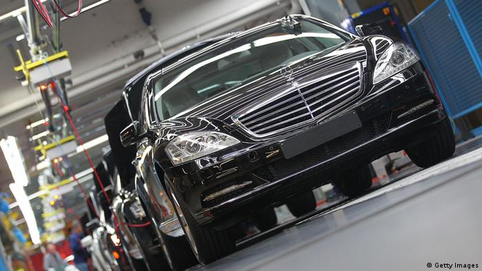 Daimler AG Mercedes-Benz S-class automobiles travel along the production line inside the company's factory (photo: Thomas Niedermueller/Getty Images)