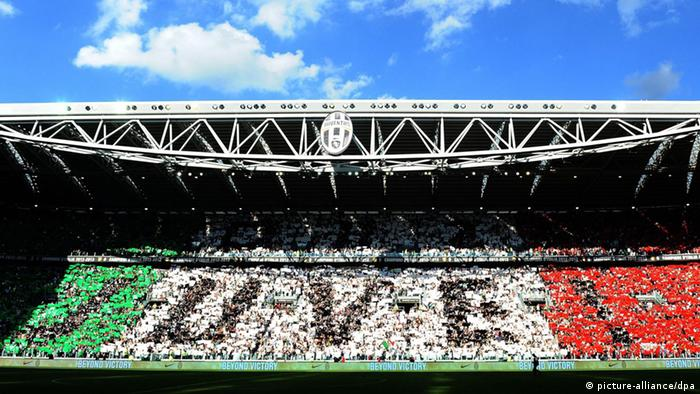 A look at the fan section of Juventus' stadium. Juventus Turin - Cagliari Calcio, Serie A