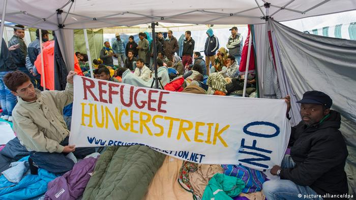 Residents of the hunger-strike camp in Munich