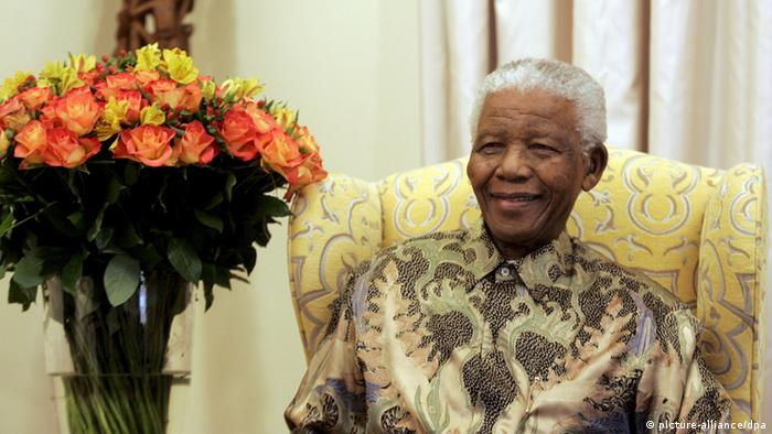 Former South Africa's President Nelson Mandela is pictured during an interview with the media at is house in Qunu, South Africa,18 July 2008. Mandela, the anti-apartheid icon spend his 90th birthday at home in Qunu with his family, and the whole village is celebrating EPA/THEMBA HADEBE